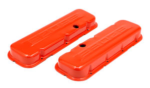 CHEVY 502 LOGO SHORT ORANGE POWDER COATED VALVE COVERS