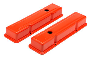 CHEVY 283-400 SHORT ORANGE POWDER COATED VALVE COVERS- NO BAFFLES