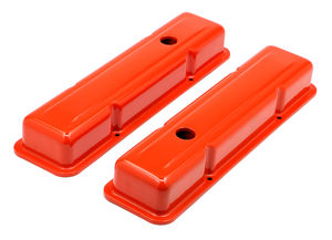 CHEVY 283-400 SHORT ORANGE POWDER COATED VALVE COVERS- BAFFLED