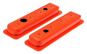 CHEVY 5.0-5.7 ORANGE POWDER COATED VALVE COVER CAPS