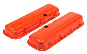 CHEVY 396-502 SHORT ORANGE POWDER COATED BAFFLED VALVE COVERS