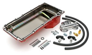 LS Swap Oil Pan/Filter Reocation Kit; Double Filter; Horizontal Port, Red Pan