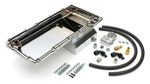 LS Swap Oil Pan/Filter Reocation Kit; Single Filter; Horizontal Port; Chrome Pan