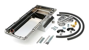 LS Swap Oil Pan/Filter Reocation Kit; Double Filter; Horizontal Port; Chrome Pan