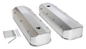 FABRICATED ALUMINUM VALVE COVERS POLISHED BBC WITH HOLE