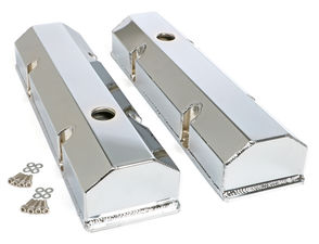 FABRICATED ALUMINUM VALVE COVERS CHROME SBC WITH HOLE
