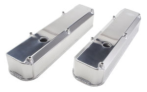Fab. Aluminum Valve Covers; MOPAR SB Engines; WITH Holes/Baffles-POLISHED