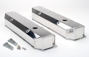 Fab. Aluminum Valve Covers; MOPAR BB Engines; WITH Holes/Baffles-POLISHED