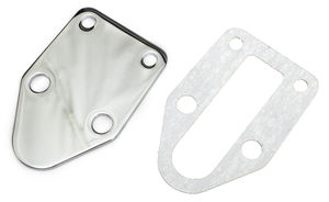 SB CHEVY FUEL PUMP BLOCK OFF PLATE; PLAIN- CHROME