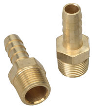 "STRAIGHT Fuel Hose Fittings (Pr); 3/8"" NPT to 3/8"" I.D.- BRASS"