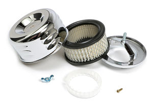 """""""LOUVERED"""" Style Air Cleaner; 4-5/8"""" Diameter; 2-1/16"""" or 2-5/8"""" Neck-CHROME"""