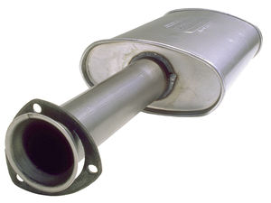 "Turbo Hedder Muffler for 2-1/2"" Exhaust System; 3"" 3-Bolt Triangular Collector"