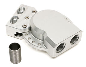 Remote Oil Filter Base; Multi-Position Ports; MOBIL M1-403- Billet Aluminum