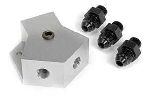 BILLET FUEL Y-BLOCK FITTING WITH -6 PORTS