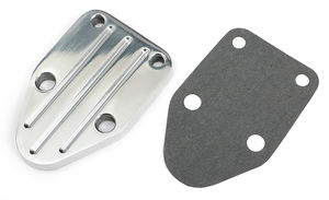 FUEL PUMP BLOCK-OFF Plate; SB Chevy 283-400; PINSTRIPES (Ball-milled)- ALUMINUM