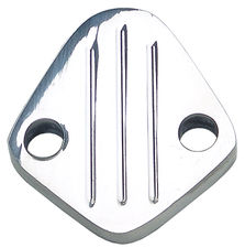 "FUEL PUMP BLOCK-OFF; BB Chevy 396-454, V6 (1-3/4"" centers); PINSTRIPES-ALUMINUM"