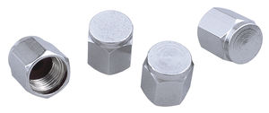 VALVE STEM CAPS; Hex Shape (4 pcs.)-CHROME