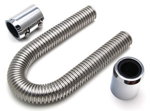 "24"" STAINLESS STEEL RADIATOR HOSE KIT- POLISHED ALUMINUM ENDS"