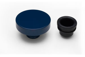 """PUSH-IN"" Style Oil Cap; 1-1/4"" Neck- FORD BLUE Powder Coated (ALUMINUM)"