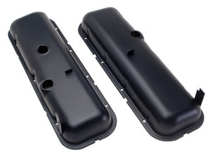 """O.E.M."" Style Valve Covers; Short; 1965-72 BB Chevy- ASPHALT BLACK"