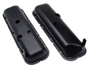 """O.E.M."" Style Valve Covers; Short; 65-72 BB Chevy (recess corner)-ASPHALT BLACK"