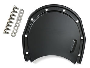 Asphalt BLACK Timing Chain Cover and Bolts- Chevy 4.3L V6 or SB V8 (not for LT1)
