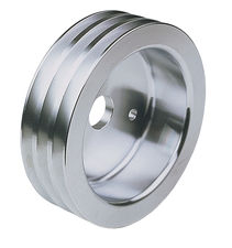 CRANKSHAFT Pulley; 3 Groove; CHEVROLET 283-350; SHORT W/P- Mach. ALUMINUM