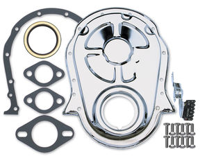 Chrome Timing Chain Cover, Gasket, Bolts, Seal and Tab- 1965-90 Chevy 396-454