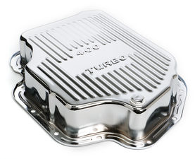 "TH400-CHROME Transmission Pan; Extra Capacity (+1.5 Qt); 3"" Depth; FINNED"