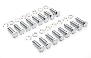 "INTAKE MANIFOLD BOLTS; 3/8""-16 X 1-1/4"" Hex Head (16 bolts)-CHROME"