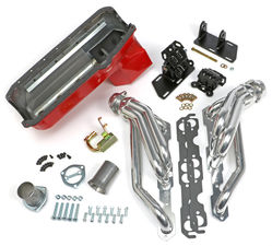 Chevy V8 in 2WD S10 / S15 Engine Swap Kit; HTC COATED Headers- ANGLE PLUG Heads