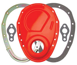 CHEVY ORANGE 2-Piece Timing Chain Cover Set- SB Chevy V8 (not for LT1)