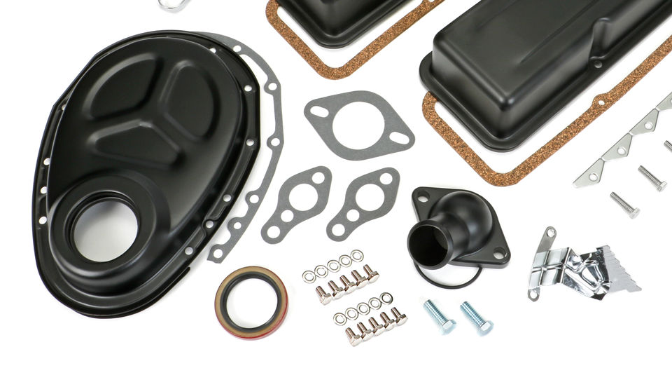 1958-86 SB CHEVROLET 283-350 ENGINE KIT WITH PCV- ASPHALT BLACK POWDER-COATED
