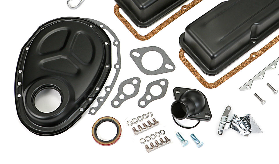 1958-86 SB CHEVROLET 283-350 ENGINE KIT WITHOUT PCV- ASPHALT BLACK POWDER-COATED