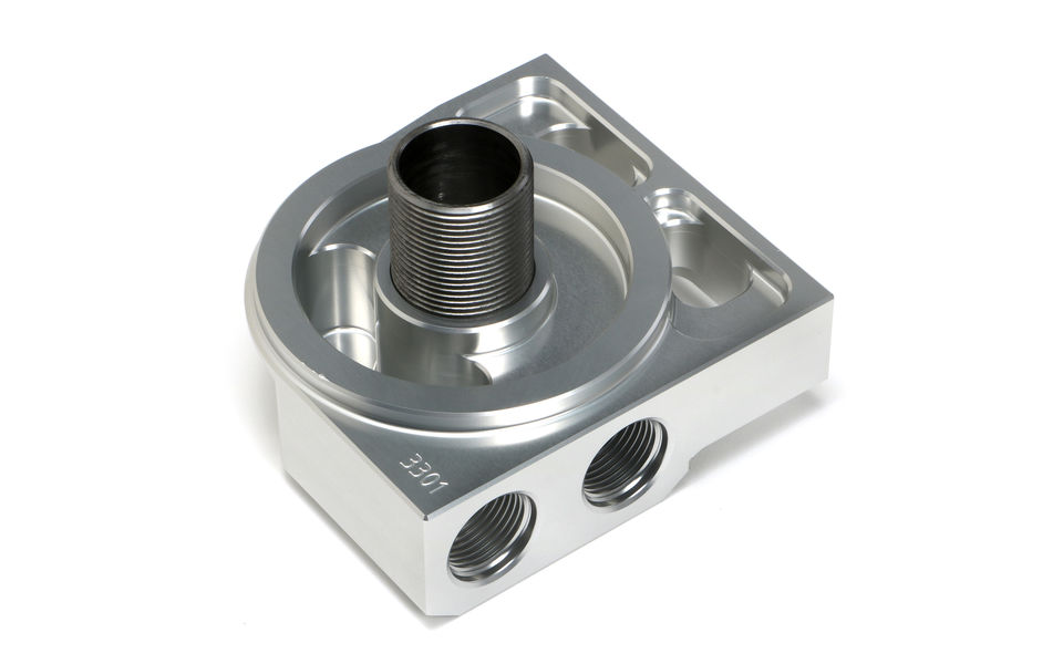 SINGLE Remote Oil Filter Base; HP6 (or equivalent); -12AN Ports-Billet Aluminum