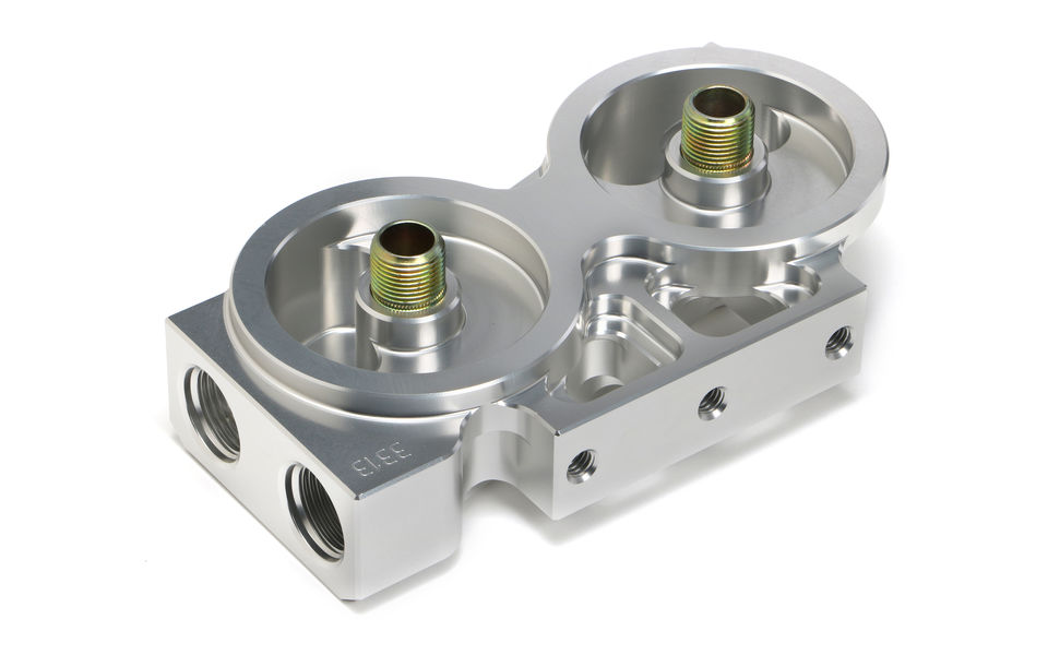 DOUBLE Remote Oil Filter Base; HP4 (or equiv); -12AN Ports- Billet Aluminum
