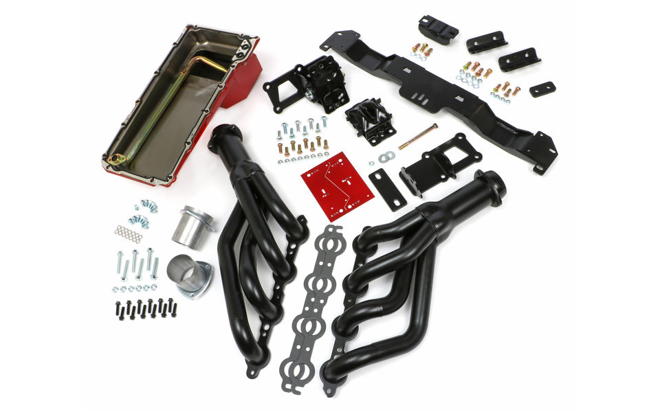 SWAP IN A BOX KIT-LS ENGINE INTO 70-74 F-BODY AUTO TRANS. W/BLACK HEADERS