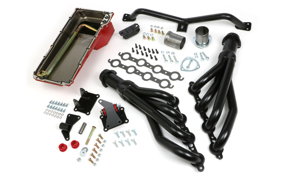 SWAP IN A BOX KIT-LS INTO 2WD 73-87 GM TRUCK/73-91 SUV; AUTO TRANS; BLK HEADERS