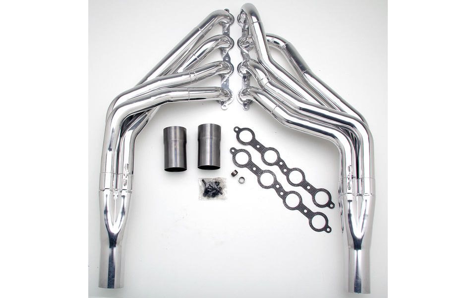 LS in 1967-98 GM 1/2 Ton Truck (2WD)- Step tube engine swap headers- HTC Silver