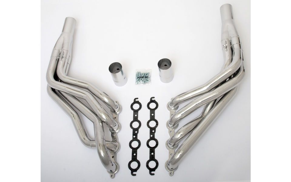LS in 1967-98 GM 1/2 Ton Truck (2WD)- long-tube engine swap headers- HTC Silver