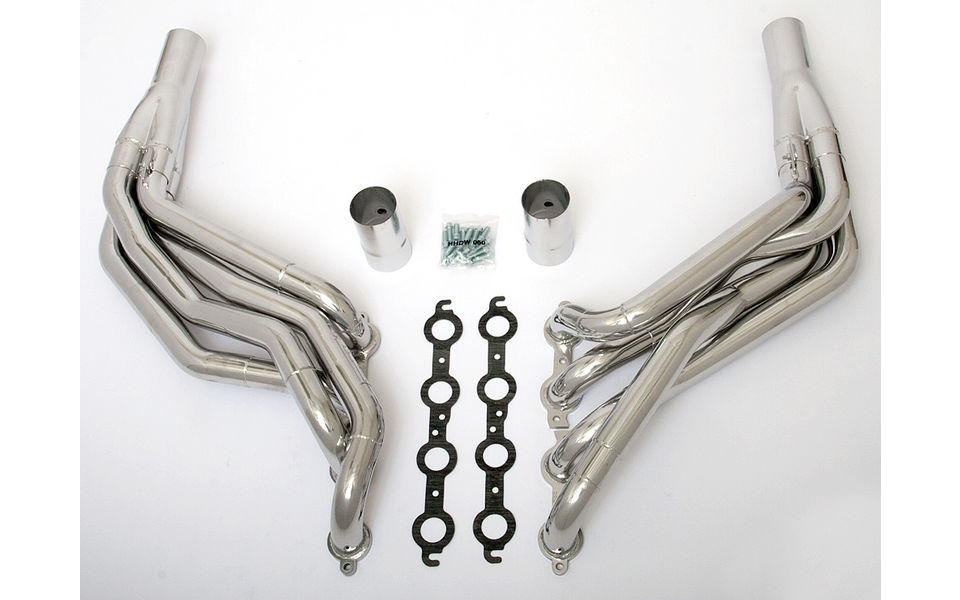 LS in 1982-93 Fox-Body Mustang- Step Long-Tube engine swap headers- HTC Silver