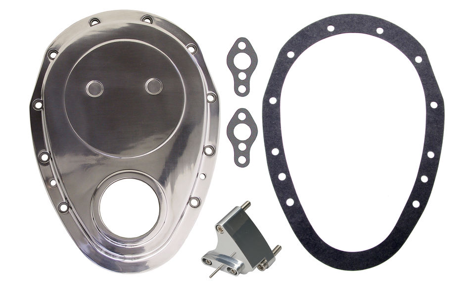 Photo of aluminum timing chain cover for Gen 1 SB Chevy V8s and 4.3L V6 engines.