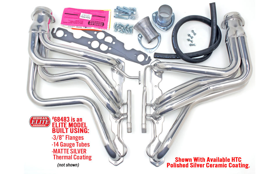 Photo of long tube Hedman headers with EGR & A.I.R. for 1987-91 Chevy Corvettes