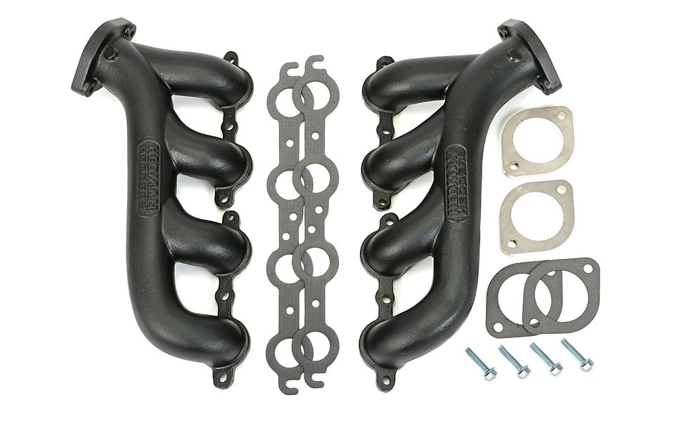 LS ENGINE SWAP CAST EXHAUST MANIFOLDS; BLACK MAXX BLACK CERAMIC COATED