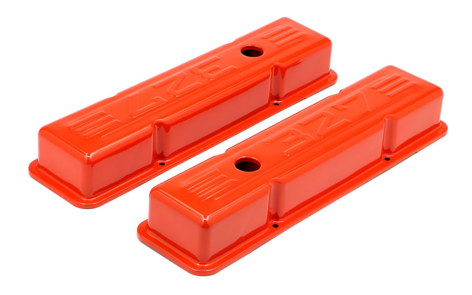 CHEVY 327 LOGO SHORT ORANGE POWDER COATED VALVE COVERS