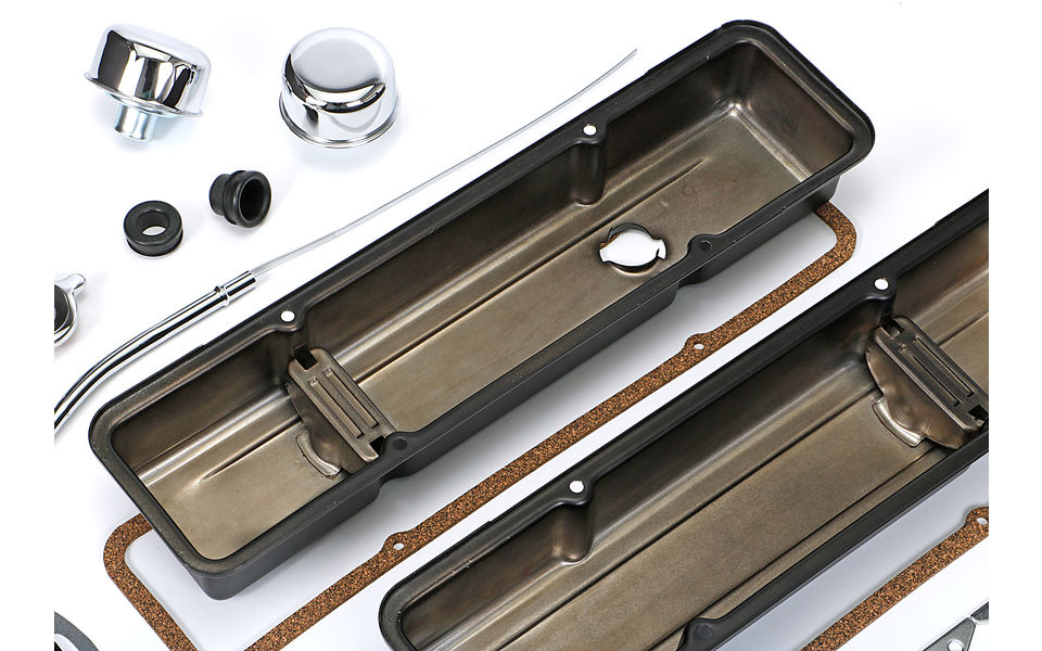 Inside photo of SBC Valve Covers without PCV- Powder Coated Asphalt Black.
