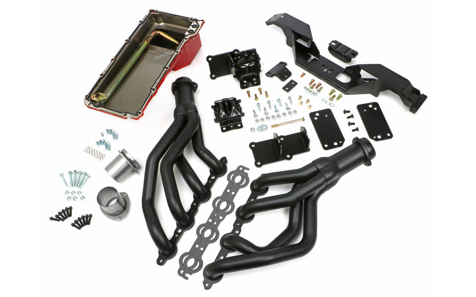 SWAP IN A BOX KIT-LS IN 67-69 F-BODY, 68-74 X-BODY AUTO TRANS BLK MAXX HEADERS