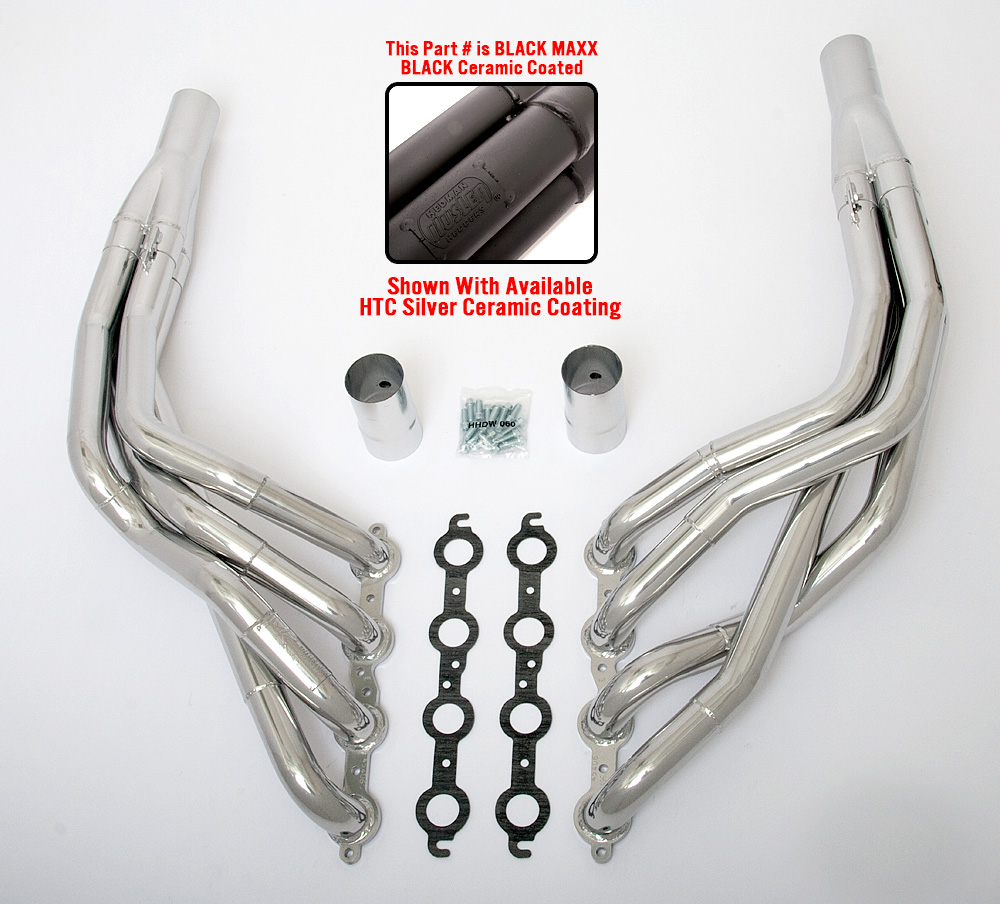 LS into 1968-74 X-Body- Stepped long-tube engine swap headers- Black Maxx