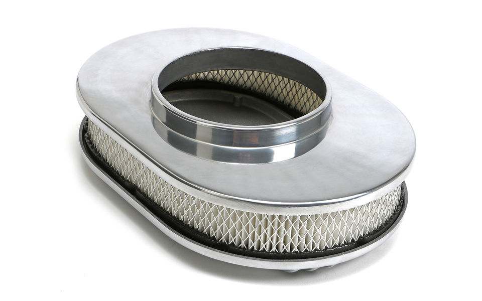 Bottom view of Finned Aluminum OVAL Air Cleaner Set