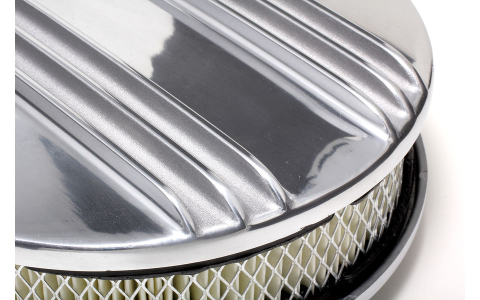 Close-up view of two-tone finish on finned aluminum air cleaner